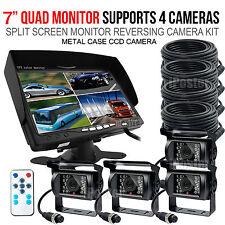 "7"" Quad Monitor Splitscreen CCD Reversing 4 Cameras Package 4PIN Kit Truck Car"