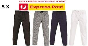 5 X Polyester Cotton Drawstring Chef Pants- DNC Workwear 1501