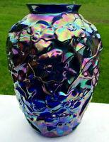 "Fenton Cobalt Blue Carnival Glass DOGWOOD Vase 7.25""H  MINT**Beautiful *RARE*"