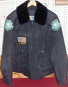 Mens Size L XL Black Nylon Police Jacket Coat NYC Diamond District Security GCAS