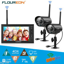"Wireless 7"" TFT LCD 2.4G Quad DVR Home Security System Night Vision CCTV Camera"
