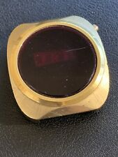 Vintage Mens LED Watch Not Running Nice Crystal And Gold Case For Parts