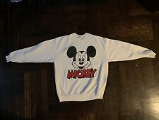 Mickey Mouse Sweater Vintage Mens Large White Red Rare Disney 90s World Land