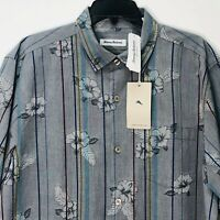 Tommy Bahama Camp Silk Shirt Costa Cascade T320871 Men's L $135 Zephyr Blue NEW