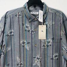 Tommy Bahama Camp Silk Shirt Costa Cascade T320871 Men's L $135 Zephyr Blue NEW