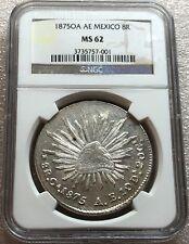 1875 Oa AE Mexico Oaxaca Mint Cap & Rays 8 Reales NGC MS62 Scarce