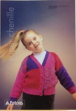 PATONS Super Chenille Girl's Cardigan Knitting Pattern Booklet 2383 - Ages 1-11
