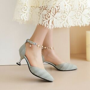 Fairy Style Women's Pointed Toe Shoes 6cm High Heels Sandals Plus Size Mary Jane