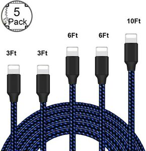 5x OEM Original Fast Charger Cable Charging Cord For iPhone 5 6 7 8 10 11 12 Max