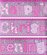 HAPPY CHRISTENING GIRL PACK OF 3 BANNERS PINK WITH ANIMAL WALL DECORATIONS (EW)