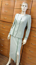 SKIRT SET CAREER MADE IN EUROPE WOOL JERSEY MIDI PENCIL SKIRT BUTTON JACKET S