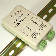 KMTronic USB 2 Rele Controller, RS232 Serie controlador, BOX, DIN rail