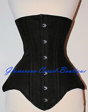 LONG Cotton Waist Training Corset Underbust Double Steel Boned 3 Layers XS - 6XL