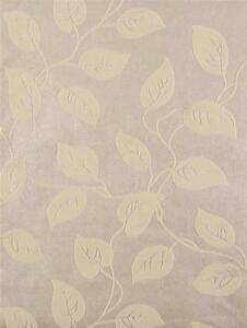 Wallpaper Cream Beige Real Flocked Velvet Leaf Vine Leaves on Pearl Beige Cream