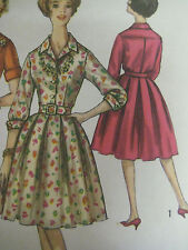 Vintage 60s Simplicity 4169 ONE-PIECE DRESS w/ FRENCH CUFFS Sewing Pattern Women