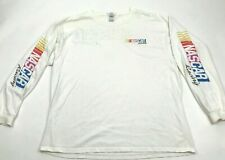 NASCAR Racing Long Sleeve Shirt Size Extra Large XL Adult White Sleeve Spellout