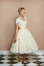 Vintage White/Ivory Lace Wedding Dress Ankle length Bridal Gown Retro Cap Sleeve