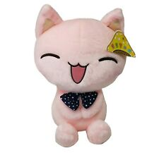 "11"" MGF PINK KITTY CAT W/ BOW TIE SITTING STUFFED ANIMAL PLUSH TOY NEW W/ TAG"