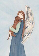 Brown shorthaired dachshund (doxie) and angel profile / Lynch folk art weiner