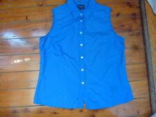 Ladies Blue Sleeveless Shirt Button Down  Size 16