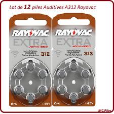 Lot de 12 piles boutons auditives A312 Rayovac, livraison rapide et gratuite
