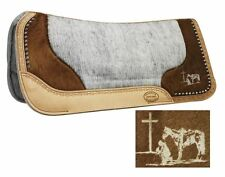 """Showman PRAYING COWBOY Laser Etched Hair On Cowhide 32""""x31""""x1"""" Vented SADDLE PAD"""