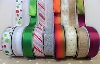 WIDE CHRISTMAS Wired Edge Ribbon - Mixed Patterns 38mm wide- Floral, Craft