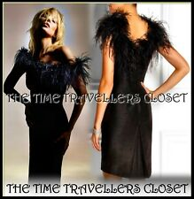 BNWT Kate Moss Topshop RARE Black Sexy Fishtail Dress Ostrich Feather UK 10