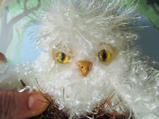 BABY SNOW OWL Folk Art doll handmade ooak in nest soft fabric plush crochet bird