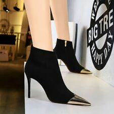 Womens High Heel Ankle Boots Stiletto Shoes Patent Leather Pointed Toe Shoes