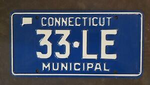 CONNECTICUT LEBANON TOWN MUNICIPAL License Plate  33•LE MINT CONDITION! LOW #!
