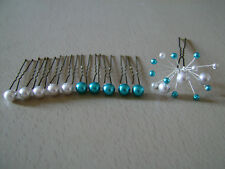 lot pics épingles/Pince à Cheveux robe Mariée/Mariage Gris clair Turquoise perle