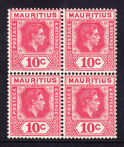 MAURITIUS GVI 1942 SG256c 10c pale reddish-rose P15x14 - block of 4 u/m cat £168
