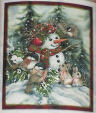 New Winter Christmas Snowman Fleece Throw Gift Blanket Nuthatch Bunny Bergsma