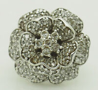 Sterling Silver 925 2.20ctw Round Cubic Zirconia Large Flower Cocktail Ring 6
