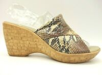 Onex Multi-Color Snakeskin Print Leather Slide Wedge Sandals Women's 38 / 7.5