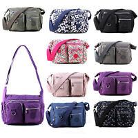 Ladies Casual Multi Pocket Nylon Large Cross-Body Shoulder Bag Messenger Bags