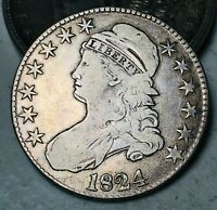 1824 Capped Bust Half Dollar 50C High Grade O-111 Good 90% Silver US Coin CC6294