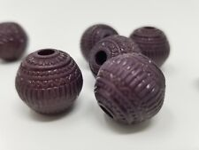 8pcs 18mm Carved Purple Etched Round Acrylic Beads Textured Flower Puffed DIY