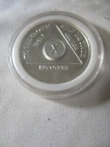 Alcoholics Anonymous AA 10 Year Silver Sober Toned Coin Chip Token X