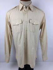 Tommy Hilfiger Trim Fit Mens Medium Beige Long Sleeve Button Front Shirt