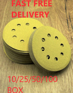 TRADE GOLD/YELLOW 8 HOLES (125MM) /HOOK AND LOOP SANDING DISCS PACKS10/25/50/100