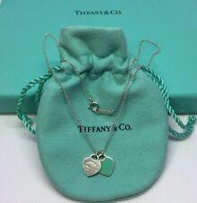 d0603da2ef37 Tiffany   Co. 925 Doble Etiqueta Corazón-Azul Esmalte Collar 17