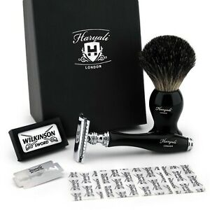 Double Edge Safety Razor & Pure Black Badger Brush Combo Shaving Set Classic Kit