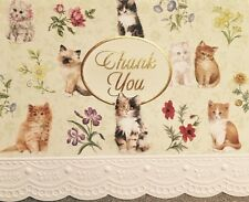 Carol Wilson Thank You Cards 10 Embossed Set Kittens Kitten Cat  Blank