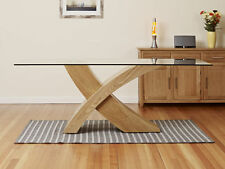 Dining Table Glass Top Oak X Cross Legs Dining Room Furniture 200 cm Modern