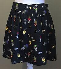 A/Wear A Line Mini Skirt Button Front Black Multi Colored Feathers Size 12