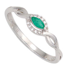 Damen Ring 333 Gold Weißgold 1 Smaragd grün 10 Diamanten Brillanten Gr.50-56, 60