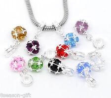 50Pcs Mixed(10Colors) Dangle Beads Fit Charm Bracelet