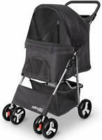 Pet Stroller for Cat Dog 4 Wheel Walk Stroller Travel Folding Carrier Black